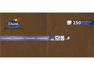 Serviette Duni 3-lagig, 1/4 Falz 24 x 24 cm, chestnut