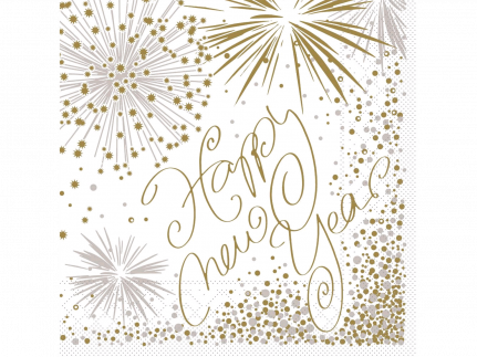 "Servietten 3-lagig, 33 x 33 cm, 1/4 Falz ""HAPPY NEW YEAR"""