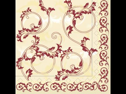 """Servietten Tissue 3-lagig, 33 x 33 cm, 1/4 Falz, """"MICHEL"""" bordeaux"""