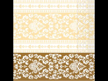 """Servietten Tissue 3-lagig, 33 x 33 cm, 1/4 Falz, """"PASCAL"""" gold/creme"""
