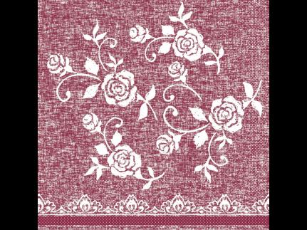 """Servietten Tissue 3-lagig, 33 x 33 cm, 1/4 Falz, """"LACE"""" bordeaux"""