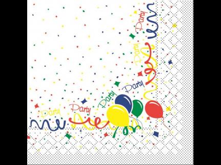 "Servietten Tissue 3-lagig, 33 x 33 cm, 1/4 Falz, ""PARTY"""