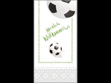"""Servietten Tissue 3-lagig, 33 x 33 cm, 1/8 Falz, """"HERZLICH WILLKOMMEN"""" Fussball"""