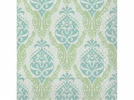 "Servietten Tissue 3-lagig, 40 x 40 cm, 1/4 Falz, ""DORIS"" grün/blau"