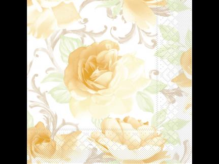 """Servietten Tissue 3-lagig, 40 x 40 cm, 1/4 Falz, """"ROSALIE"""" gelb"""